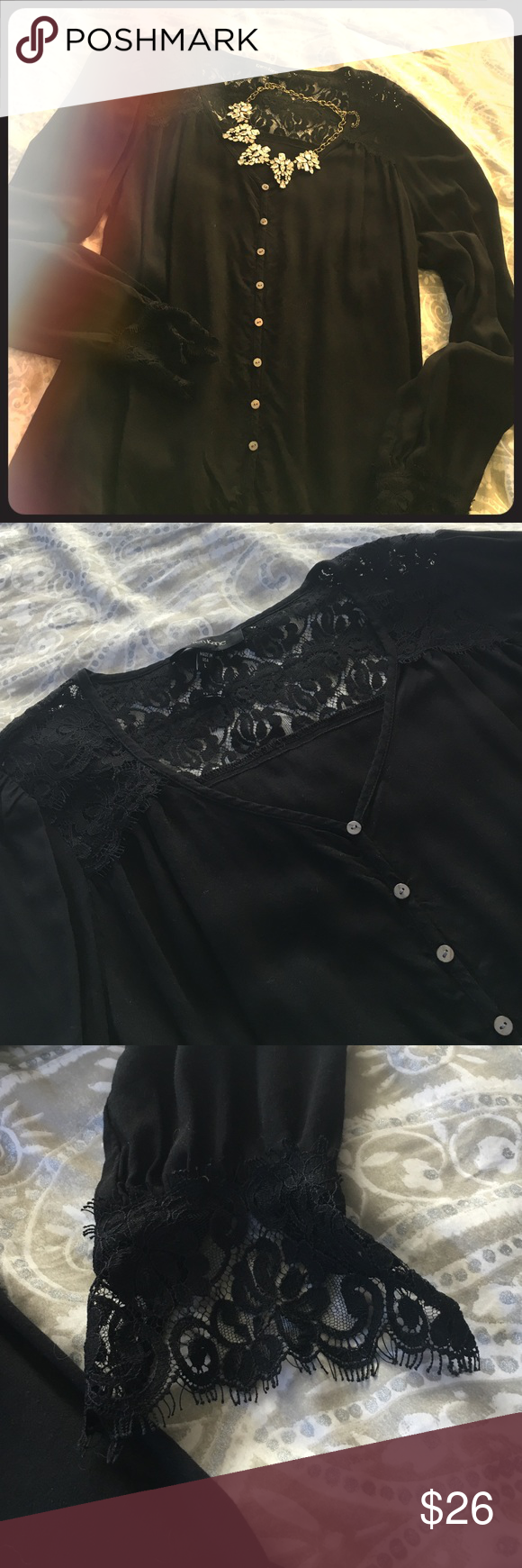 ⚡️Flash Sale! ⚡️Black lace Karen Kane blouse Sz. large, runs small! Super cute lace detail on neckline and wrists! Karen Kane Tops Blouses