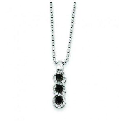 Sterling Silver Black & White Diamond Pendant #Necklace