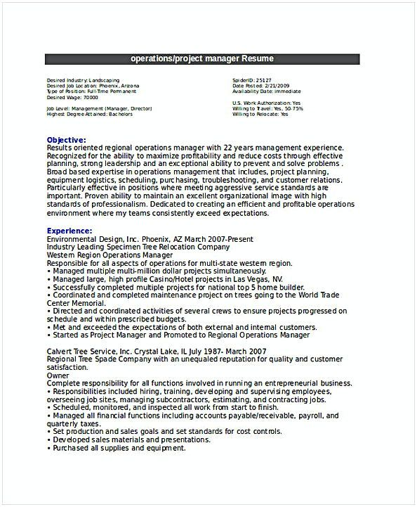 Operations Project Manager Resume  General Manager Resume  Find