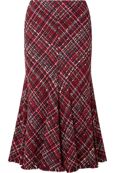 3c75867b8a ... Super-Stylish Skirt made from Bias-Cut, Tonal-Red, Black and White  Tweed. It's Fitted through the Hips and falls to a Fluted, Swishy Flare  with a Frayed ...