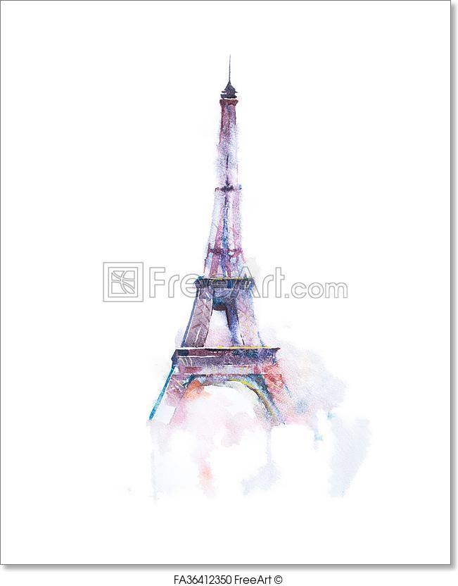 Free Art Print Of Watercolor Drawing Of Eiffel Tower In Paris On