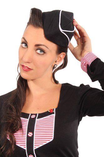 pin up Uniform rockabilly Sailor Matrosen Military Schiffchen Mütze ...