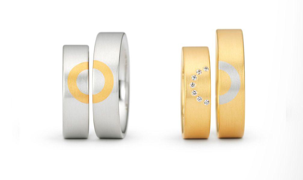 Auergewhnliche Eheringe aus Platin und Gelbgold