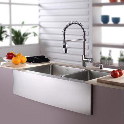 Kitchen Combos 33 L X 21 W Double Basin Farmhouse Kitchen Sink With Faucet Faucet Farmhouse Sink Kitchen Sink