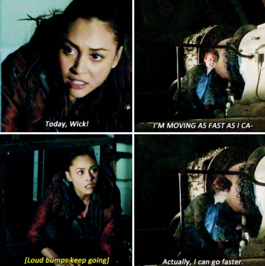 Kyle Wick The 100.Raven Reyes And Kyle Wick The 100 Season 2 Episode 15 Blood