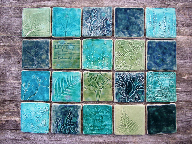 Handmade ceramic tile splash back, green, turquoise teal, 20 destash ...