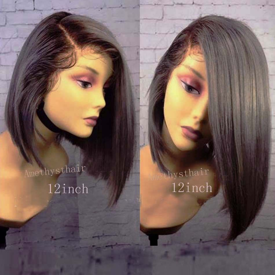Silk top brazilian full lace wigs glueless short bob lace front
