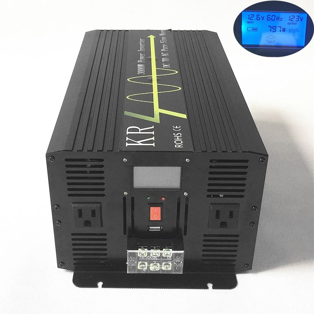 3000w Lcd Solar Power Inverter Off Grid Pure Sine Wave 12v 24v 48v To 120v 60hz Solar Power House Solar Power Inverter Solar Power System