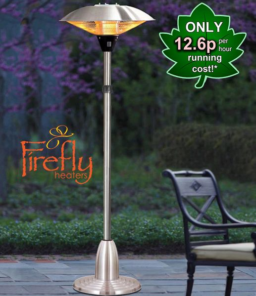 2.1kW Free Standing Adjustable Height Halogen Bulb Electric Infrared Patio  Heater By Firefly™