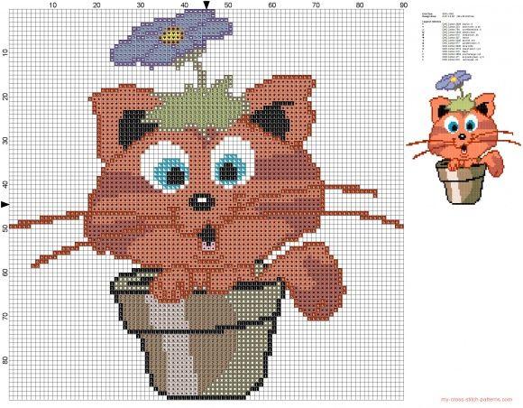 Orange Cat In Vase Of Flowers Animal Cross Stitch Pinterest