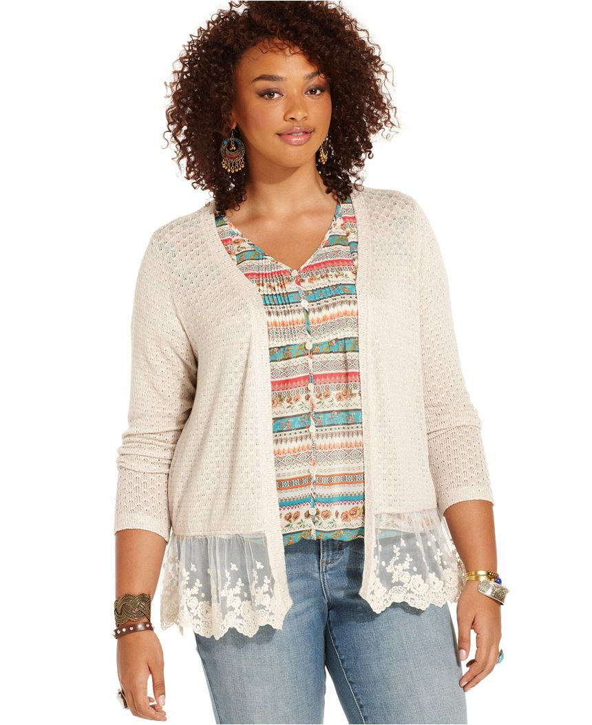 American Rag Plus Size Long-Sleeve Lace-Hem Cardigan - Plus Size ...