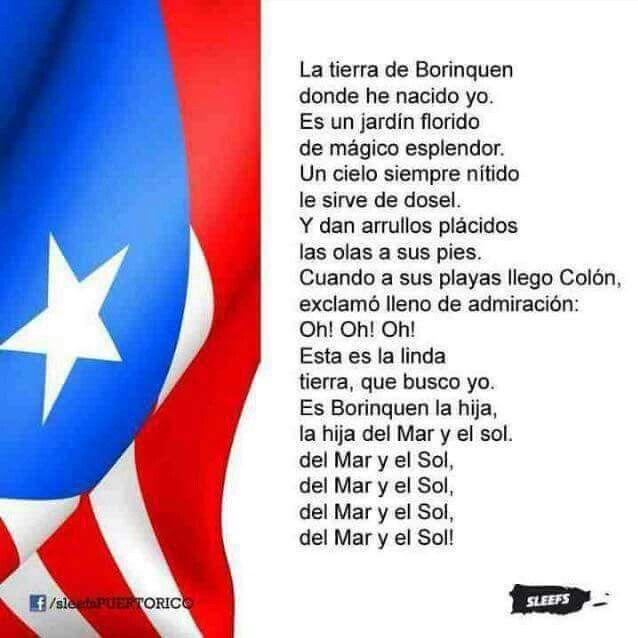 Lyrics To Puerto Rico's National Anthem.