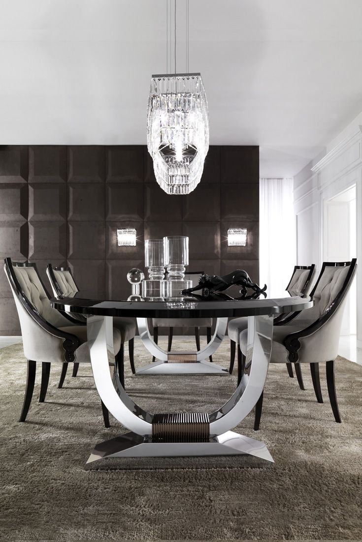 Italian Black Lacquered Chrome Oval Dining Set  Dining Sets Interesting Oval Dining Room Table Set Design Decoration