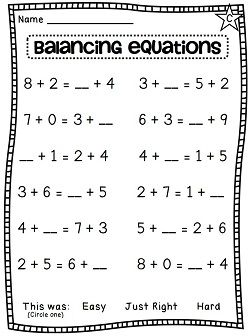 Frebbie Balancing Equations Assessment First Grade St Grade