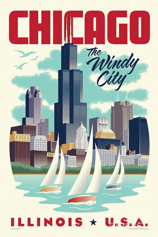 Art Deco Digital Art - Chicago Retro Travel Poster by Jim Zahniser