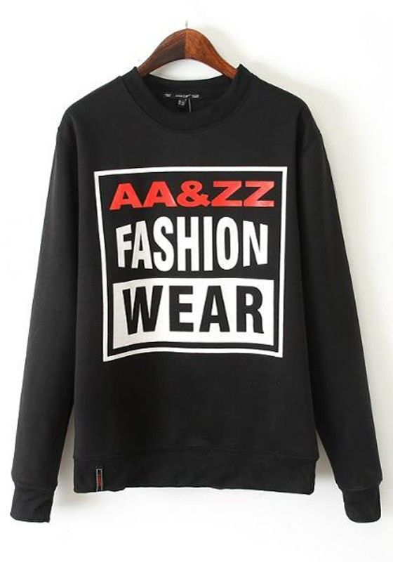 Black Monogram Print Sweatshirt
