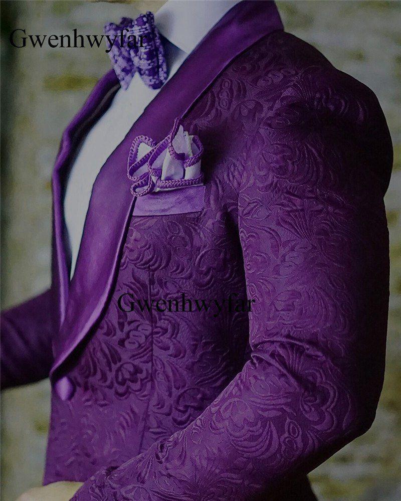 f14108edfc3b4 Ucuz Nina Takım Elbise 2018 Moda İtalyan Tasarım Mor Sabah Akşam Takım  Elbise Erkekler Slim Fit Damat Düğün Elbise Erkekler Düğün Takımları 2  parça, ...