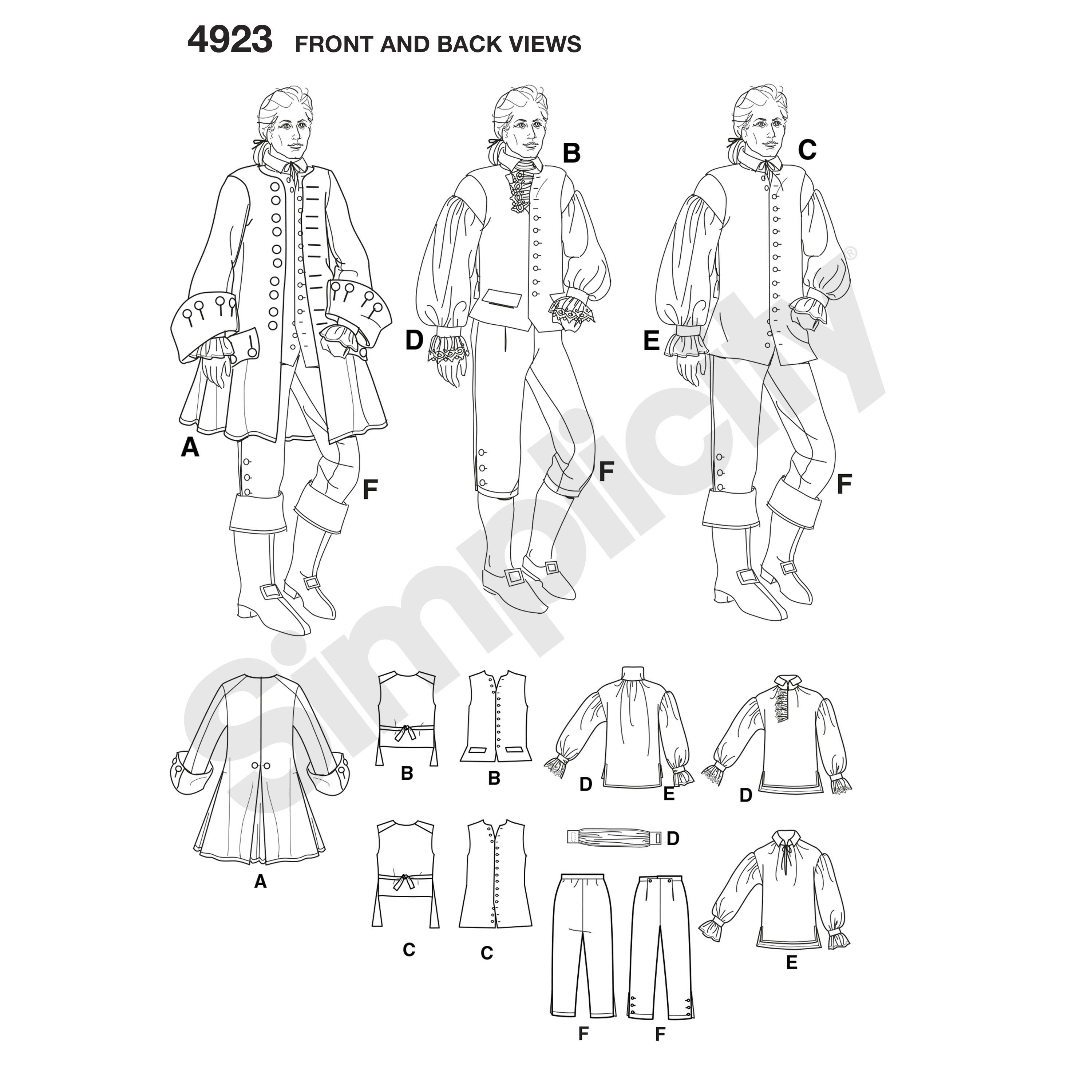 Simplicity Mens Sewing Pattern 4923 Pirate Fancy Dress Costumes Simplicity-4...