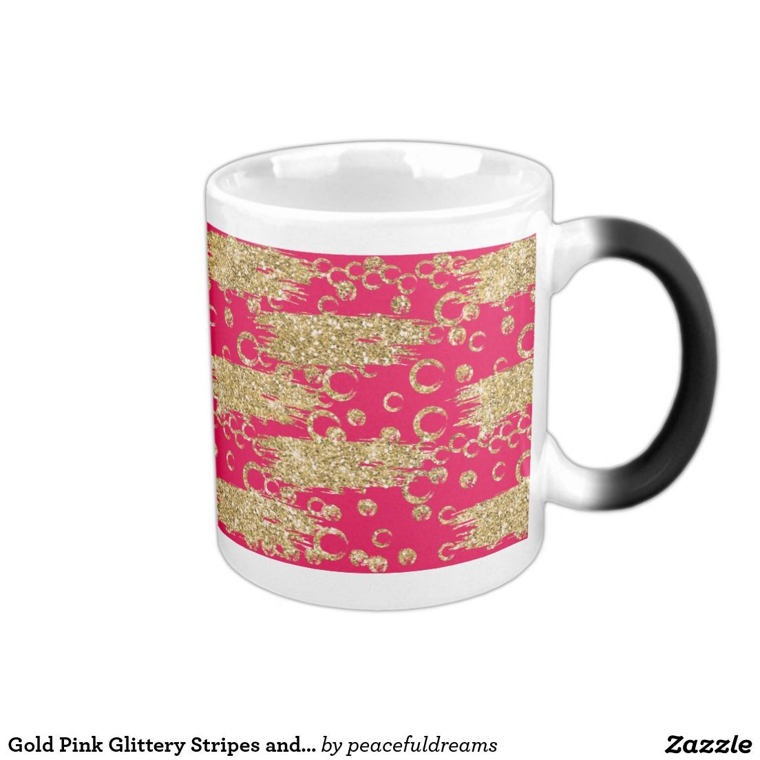 Gold Pink Glittery Stripes and Circles 11 Oz Magic Heat Color-Changing Coffee Mug