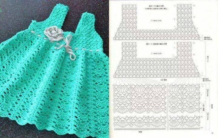 Patrones gráficos de vestidos para bebés en crochet | Children,baby ...