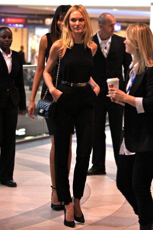 47e2942970cc Candice Swanepoel   Elegant Black Jumpsuit With Gold Belt