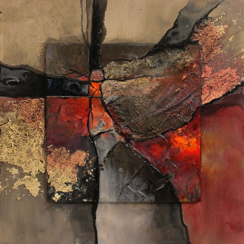 """""""New London"""" mixed media abstract collage by Carol Nelson. Stunning reproduction available on aluminum."""