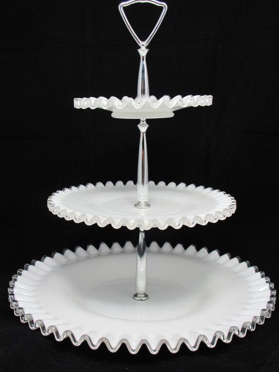 Vintage Fenton 3 Tier Silvercrest Tidbit Tray By Tietheknotvintage Milk Glass Fenton Milk Glass Hobnail Milk Glass