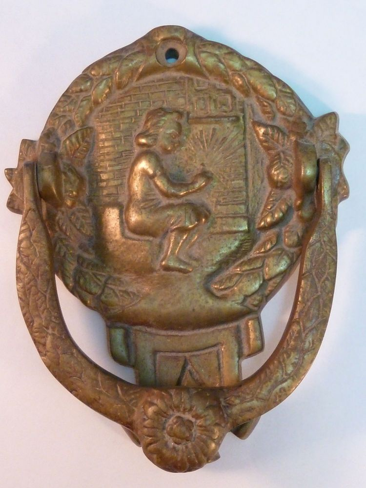 Antique Style Rustic Cast Iron Lion Face Door knocker with Brass Ring #002
