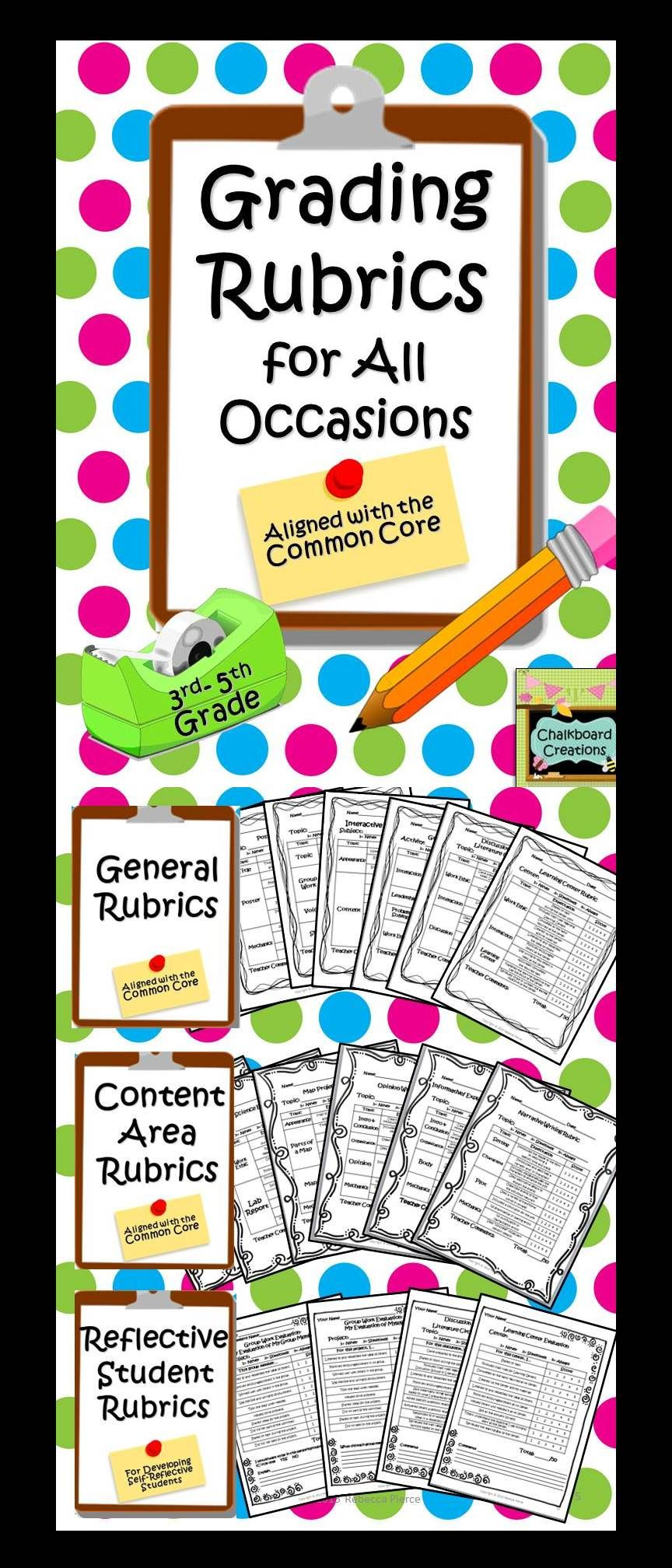 14 Rubrics to help you with that huge pile of grading! PLUS there are 4 Self-Evaluations for students to fill out about themselves. Save yourself some time...   teacherspayteachers.com
