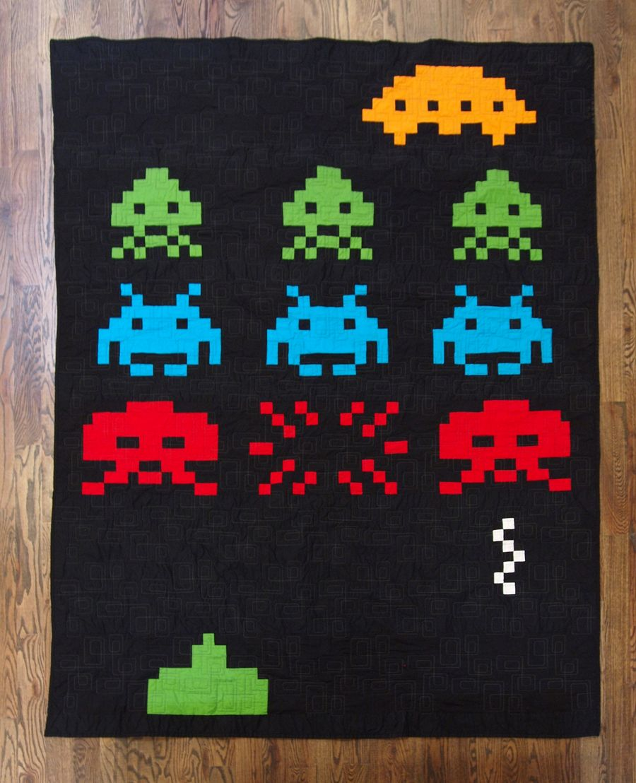 Erikia 39 s amazing space invaders quilt i made this for Space quilt pattern