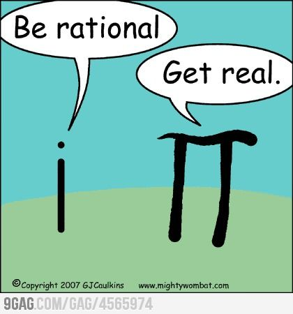 """Imaginary vs Irrational""  (Math jokes: There just aren't enough of them!)"
