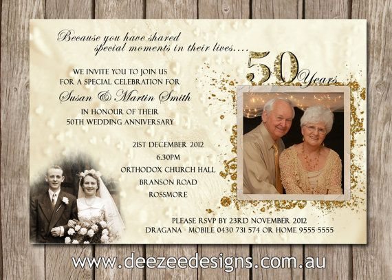 50th Wedding Invitation Templates: Photo Personalised 50th, 60th, 25th Wedding Anniversary