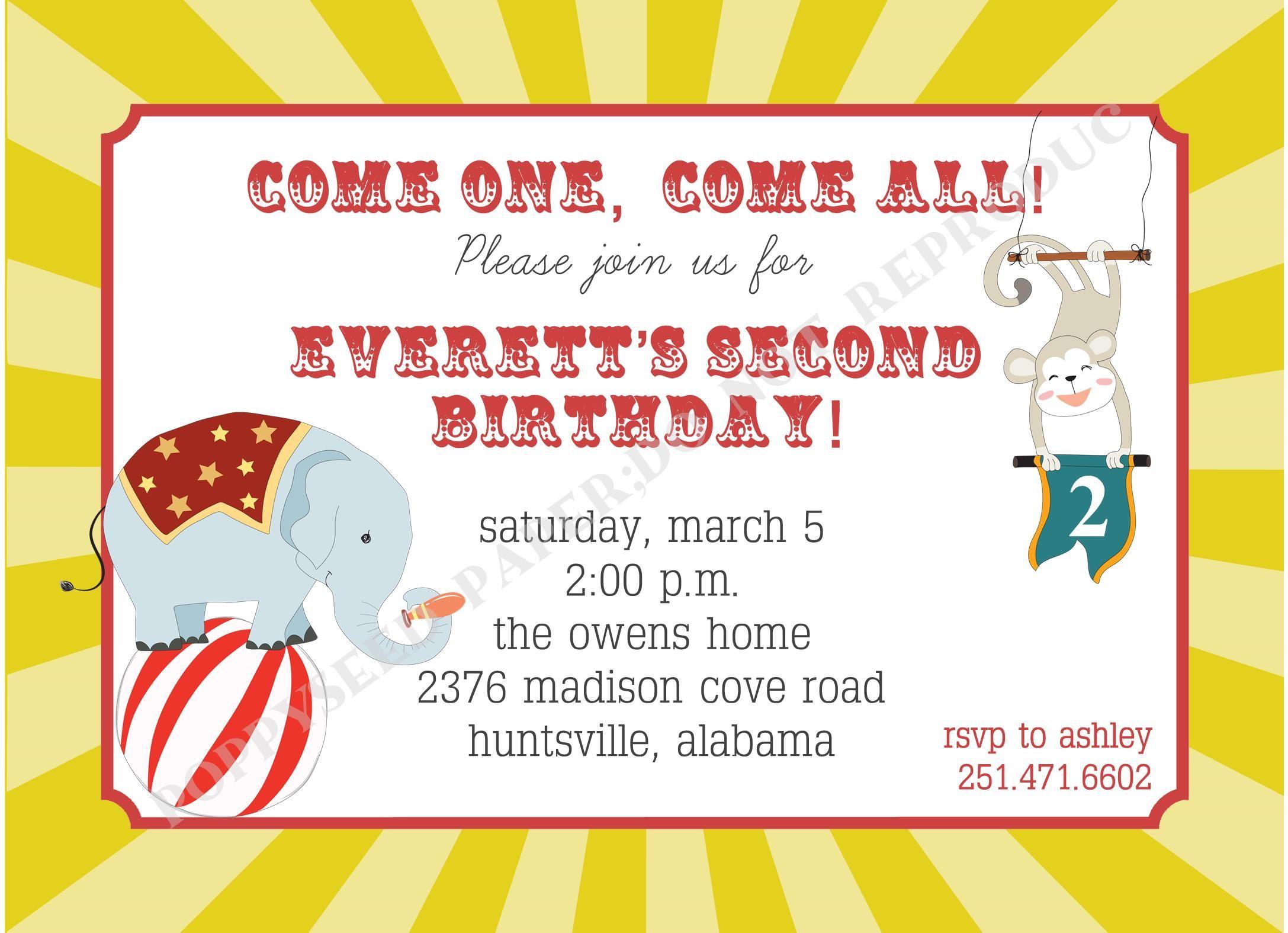 Circus Birthday Invitations Pinterest