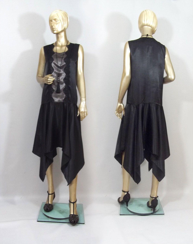 S art deco flapper dress black vintage style hankie hem