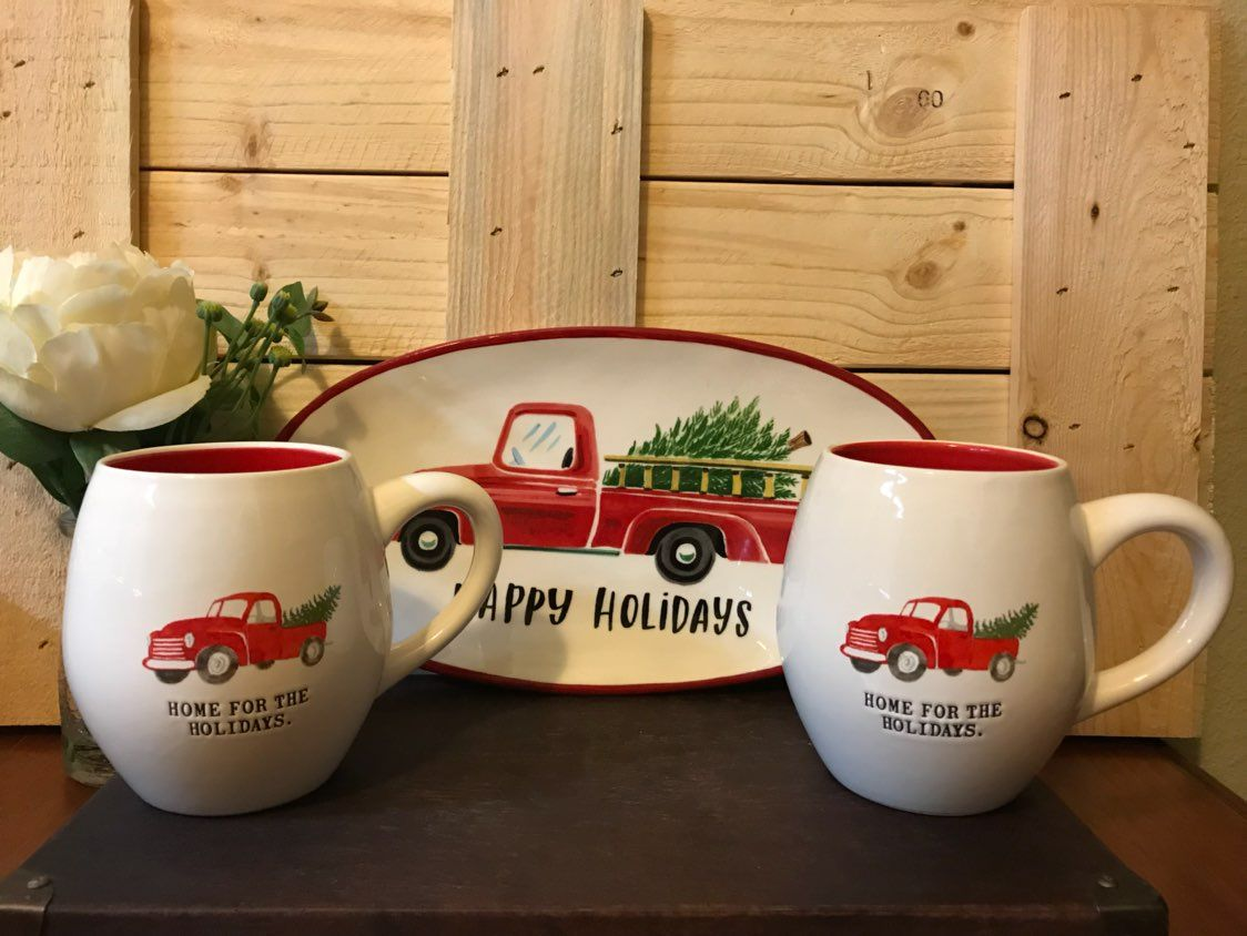 Cool Item Rae Dunn Christmas Red Truck Set Christmas Red Truck