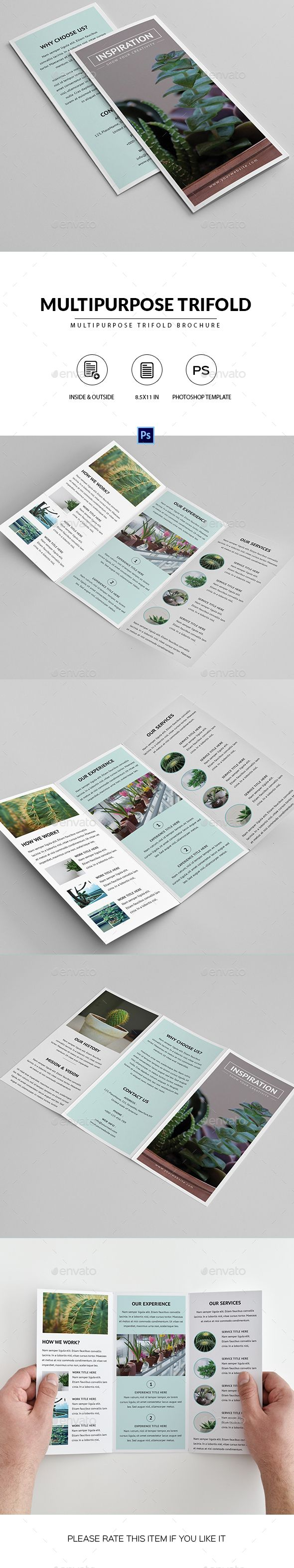 Multipurpose Trifold Brochure   Pinterest   Brochures  Brochure     Multipurpose Trifold Brochure     Photoshop PSD  8 5x11  trifold     Download         https   graphicriver net item multipurpose trifold brochure  20287596 ref pxcr