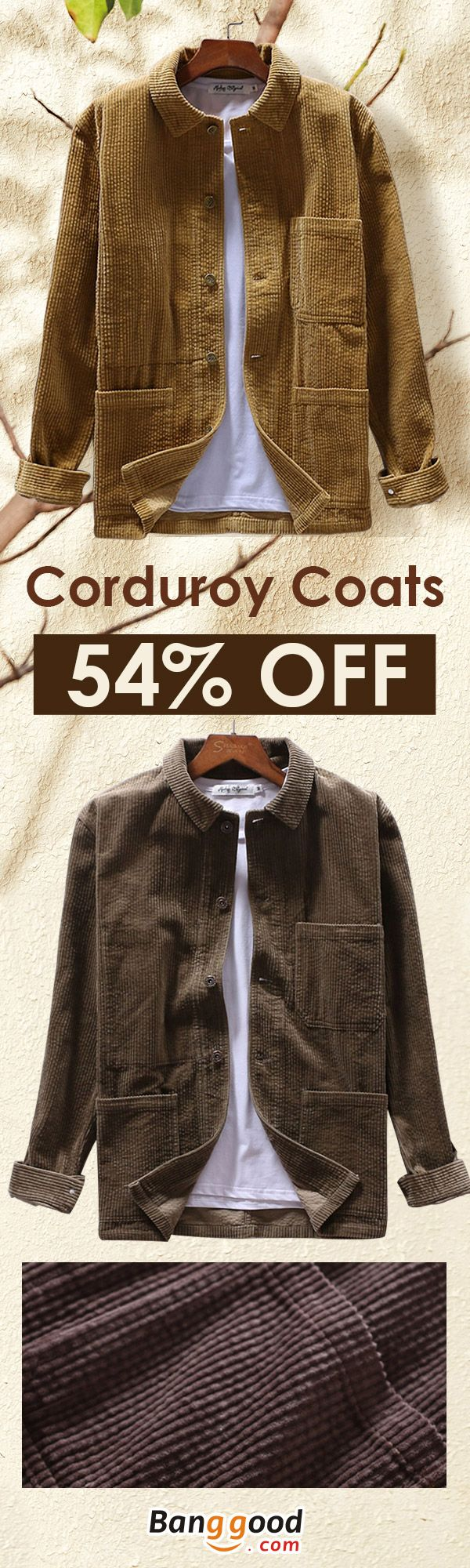 Free Shipping   New Arrivals Mens Corduroy Winter Loose Button Fly Thick  Warm Vintage Long Sleeve aba8311c0c