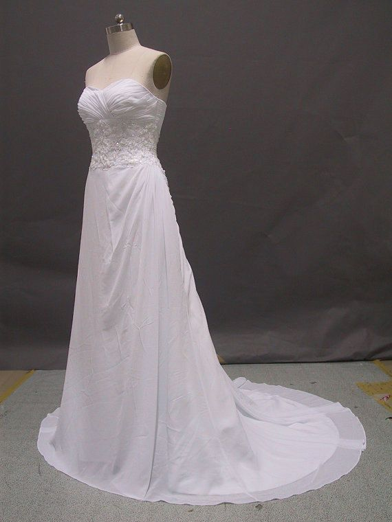 A-line Side-Draped Fit and Flare Wedding Dresses with Beaded Applique$179.00
