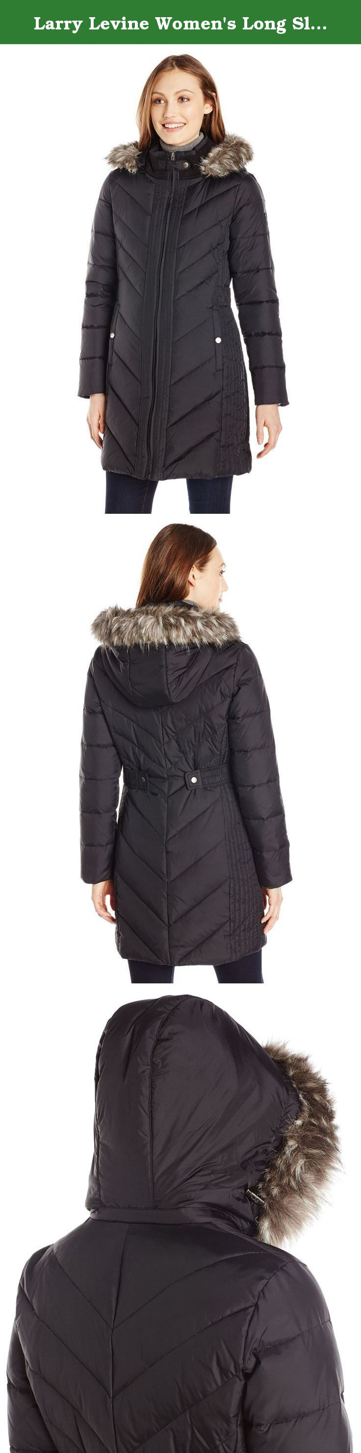 Larry Levine Women's Long Sleeve Down Coat with Side Tabs and Hood ...