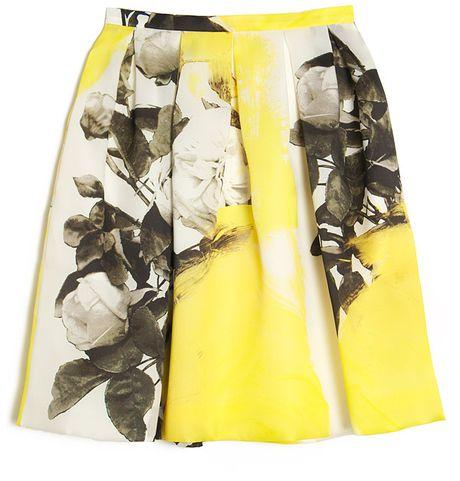 Christopher Kane Yellow Print Pleat Skirt