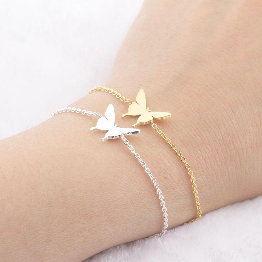 f19f8401321b38 Dainty Butterfly Best Friend Charm Bracelets Bff jewelry Women Stainless  Steel Bridesmaid Bracelet Sister Mom Gifts