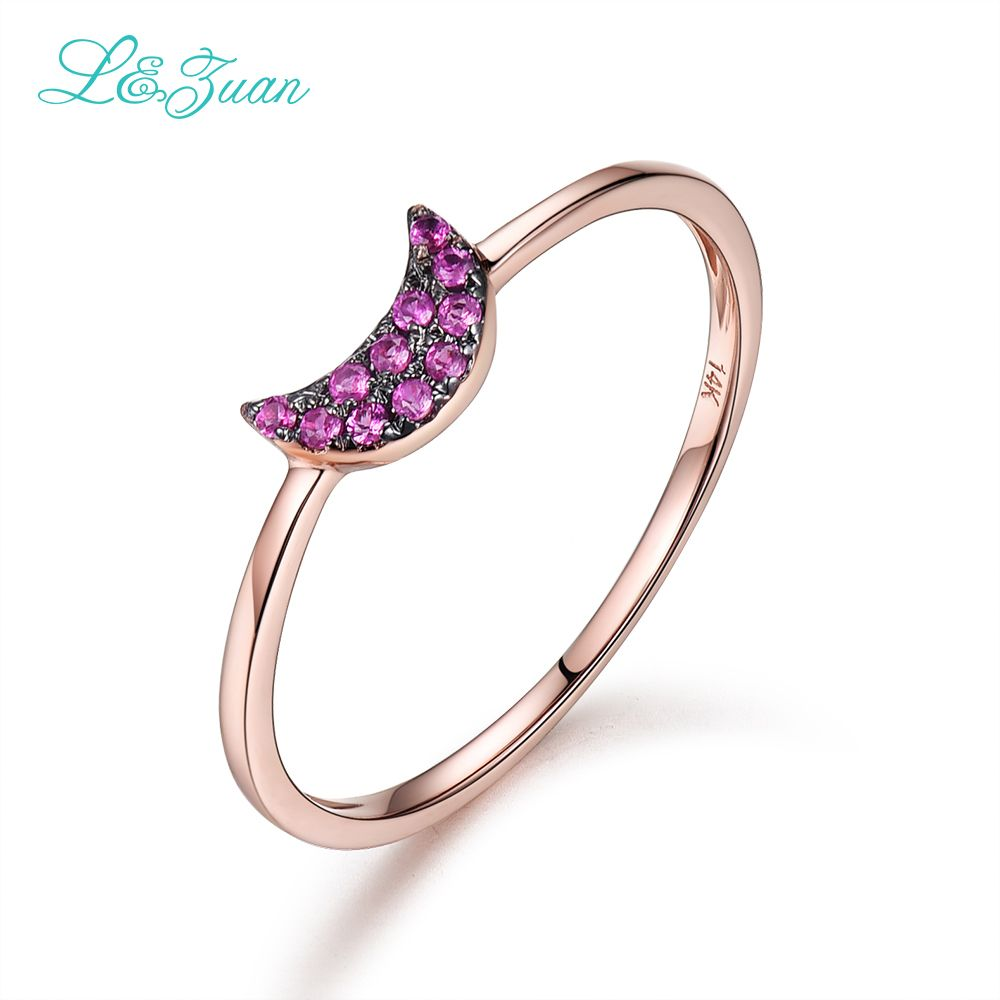 I&zuan 14K Rose Gold Natural 0.063ct Ruby Prong Setting Trendy Red ...