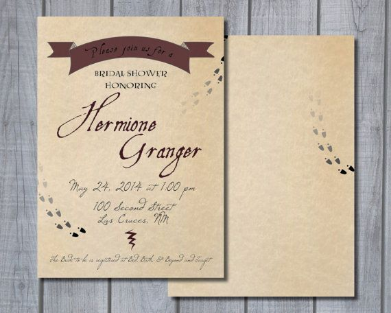 Printable Harry Potterthemed Bridal ShowerBaby Shower Invitation