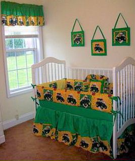 Homemade Custom John Deere Baby Crib Bedding Set For A Boy Nursery Room Farming Themed Ideas With Tractors And Décor To Make Yourself