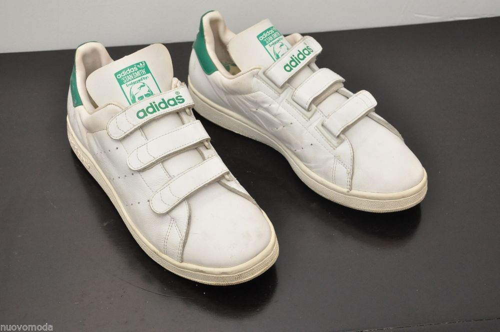 5f902ec2f03 Vintage Mens Adidas Stan Smith Originals Velcro White Tennis Shoes Size 9.5