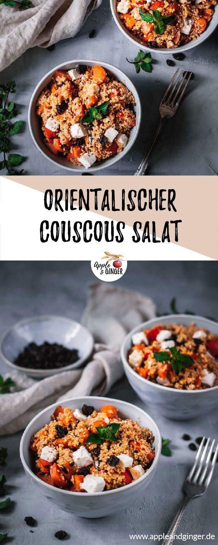 Orientalischer Couscous Salat mit Kürbis, Möhren, Feta und Rosinen #herbstgerichte