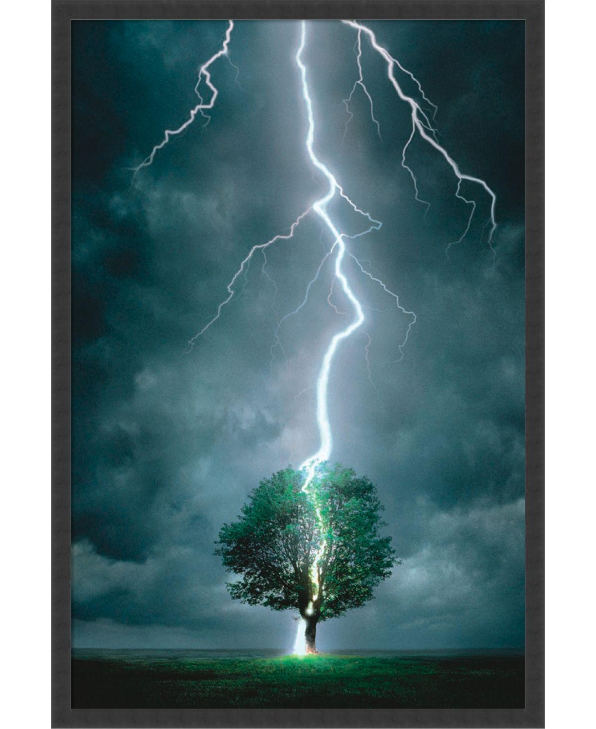 Amanti Art Lightning Striking Tree- Framed Art Print