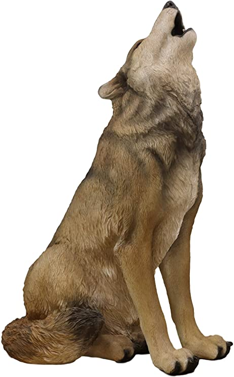 Large Wildlife Sitting Alpha Wolf Howling At The Moon Statue 33 25 Tall Lifelike Wolves Or Timberwolves Decor F Wolf Howling Wolf Howling At Moon Wolf Sitting