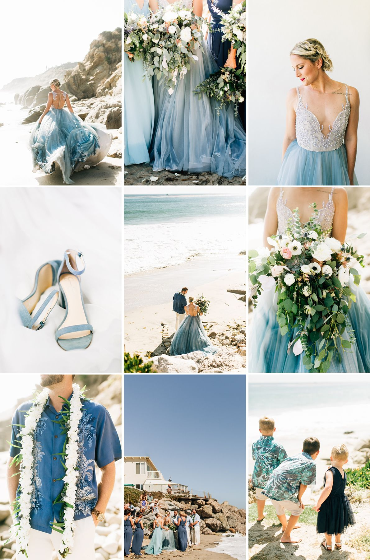 Beach Wedding Dreams With A Blue, Green + White Color