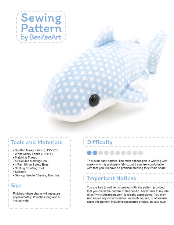 Whale Shark Stuffed Sewing Pattern, Plush Toy Pattern, PDF Digital ...
